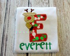 Fun Reindeer Alpha Appliqued Shirt - Embroidered, Personalized, Monogram, Reindeer, Boys, Girls, Christmas, Holiday, Reindeer Alpha Shirt