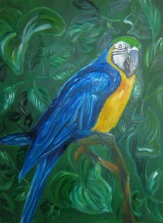 "For Sale: Parrot  by Julie Jones | $100 | 16""w 24""h | Original Art | http://www.arttwo50.com/buy/art/parrot"