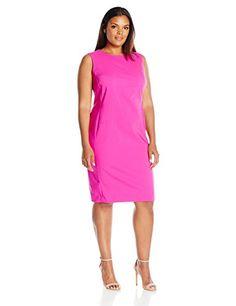 Calvin Klein Women's Plus Size Sleeveless Sheath Dress with Starburst Detail