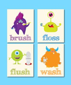 Kids Monsters Bathroom Art. Wash, Floss and Brush, 4 8x10, bathroom decor, little monsters prints, kids art