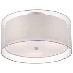 "Possini Euro Design Double Drum 18"" Wide White Ceiling Light - #P0197 | Lamps Plus"