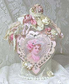 altered bottles shabby | Romantic Heart-Shaped Bottle -- Pink Roses, Rhinestones, Vintage Style