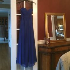 """BILL LEVKOFF Blue Prom Dress Size 2 Hello! For sale is a Bill Levkoff strapless gown size 2. Shell & lining are made of polyester, dry clean only. The bust of the dress has been altered, here are the measurements of the dress: bust- 33""""around, there is boning & there are cups sewn into the chest. The waist is: 25"""". Length from back zipper to the hem is 48"""". The hook & eye on the back of the dress needs to be replaced. Ive spot checked this dress & don't see any other issues. Please ask any…"""