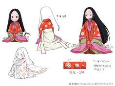 wasurenagumo: character sheet. A woman dressed in junihitoe