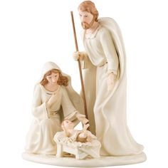 Belleek Living Nativity Family (£48) ❤ liked on Polyvore featuring home, home decor, holiday decorations, belleek living, baby jesus figure, nativity scene figurines, baby jesus figurine and nativity set