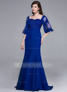 Evening Dresses - $165.99 - Mermaid Sweetheart Sweep Train Chiffon Evening Dress With Lace Beading Sequins (017025436) http://jjshouse.com/Mermaid-Sweetheart-Sweep-Train-Chiffon-Evening-Dress-With-Lace-Beading-Sequins-017025436-g25436