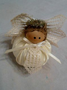 Angel with Lace Wings  and Tinsel Halo