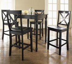 South Carolina 5 Piece Black Pub Table with X-Back Stools $599.00