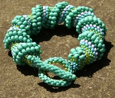 Beaded Toggle Bracelet Turquoise Lime Pine by LisaPierceJewelry