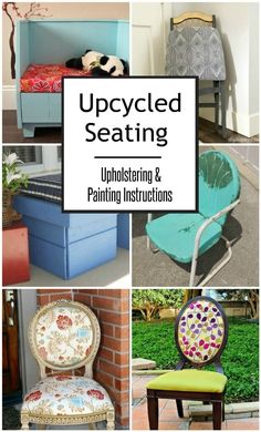 Trash to Treasure: Upcycled Seating - DIY Inspired Diy Bench, Diy Chair, Diy Home Crafts, Easy Diy Crafts, Folding Chair Makeover, Vintage Metal Chairs, Before After Furniture, Diy Furniture Tutorials, Chair Repair