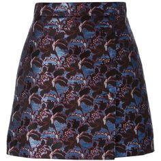 MSGM jacquard straight short skirt ($325) ❤ liked on Polyvore featuring skirts, mini skirts, blue, blue skirt, msgm, straight skirts, short mini skirts and mini skirt