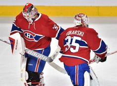 Montreal Canadiens goalie Dustin Tokarski (35) is replaced by goalie Mike Condon (39) after giving up a goal to the San Jose Sharks during the second period of an NHL hockey game Tuesday, Dec. 15, 2015, in Montreal. (Ryan Remiorz/The Canadian Press via AP)