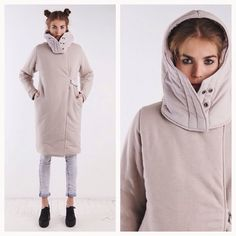Двустороннее пальто #introversion_clothing песочного цвета. Утеплитель - Slimtex-200, плотный прессованный утеплитель, специально разработанный для женской верхней одежды, минимально добавляет вещи объем. Пальто глубоко запахивается и завязывается вокруг шеи под капюшоном, так, чтобы не продувало в районе груди. Размер S-M (8600) #xoxloveka #хохловка