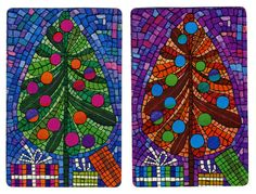 MOSAIC CHRISTMAS TREES 4 Vintage Single Swap by AntiqueWhimsy Christmas Mosaics, Christmas Trees, Paper Mosaic, Torn Paper, Christmas Scrapbook, Mosaic Glass, Artsy, Unique Jewelry, Handmade Gifts