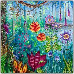 Magical Jungle - Johanna Basford - pagina dupla / pag da esquerda em close pra vc ver melhor os detalhes - material utilizado : aquarelas, colorgel , poscas, aquareláveis 💋 #johannabasford #rpenze #magicaljungle #selvamagica #livrosdecolorirparaadultos #coloringforadults #watercolor