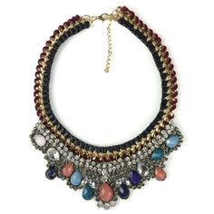 Colorful Gem Rhinestone Braided Necklace ($16) ❤ liked on Polyvore