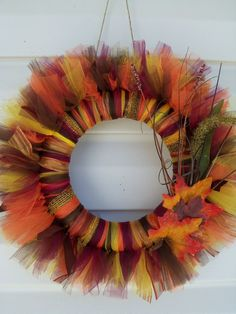 Fall tulle wreath. Beautiful!! I'll probably never get the chance to make it but I can pin it and feel productive ;)
