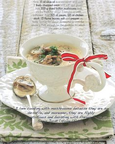 Here's a mushroom soup recipe that we all love. courtesy of Home Magazine Mushroom Soup Recipes, Health Recipes, House And Home Magazine, Stir Fry, Stuffed Mushrooms, Healthy Recipes, Stuff Mushrooms, Healthy Diet Recipes