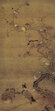 Ren Renfa(任仁发) , 元 任仁发 秋水鳧鷖图轴  上海博物馆藏. 任仁发(1254-1327),字子明,号月山道人,青龙镇 (今上海市青浦县) 人。元代著名水利专家和画家,以擅画鞍马著称于世。任仁发年轻时便才华横溢,禀赋非凡,17岁考取举人,历任中宪大夫,浙东宣尉副使等朝廷要职。其一生主要从事水利兴修,曾主持过吴淞江、通惠河,黄河等工程,直到去世前一年才离职返乡,在中国水利史上有着突出的贡献。任仁发政务余暇时爱好诗文书画,擅长毛笔书法,尤精于画人物和鞍马,是唐代画家韩幹之后又一位以鞍马画著称的绘画大师。其绘画用笔遒劲,线条简练,设色典雅,形象真实生动,传神刻画出人物的鲜明个性和所处的环境背景。其作品收藏于俄亥俄州的克里福兰艺术博物馆,肯萨斯城的尼尔森阿特金斯艺术博物馆,以及北京的故宫博物院。这些藏品中的人物形象和马匹以及整体绘画风格都非常相似,一致体现出任仁发一贯的简练、生动、秀雅的艺术风格。
