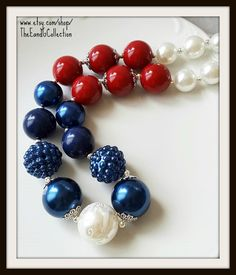 Womens Chunky necklace, Red White Blue, Stars stripes, Patriotic jewelry, school colors, 4th of July, Uncle Sam, bubblegum gumball, Sox Cubs by TheEandGCollection on Etsy