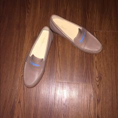 Like new Cole Han loafers Worn once these loafers are comfy and stylish. Perfect for work, or just for a dressier flat. The blue adds the perfect splash of color to these nude shoes! Cole Haan Shoes Flats & Loafers