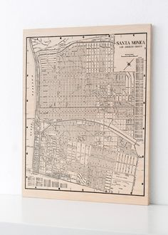 Santa Monica California Wood Print Map Home by DesignOutfitters