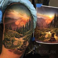 Amazing artist Jesse Rix @jesse_rix forest redwoods mountain scene arm tattoo…