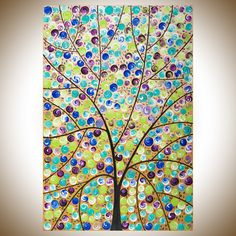 """Stars in her Eyes by QIQIGallery 36"""" x 24"""" Abstract art Purple blue green brown black white Original artwork colourful painting large wall art Whimsical art canvas artTree & Flower Paintings"""