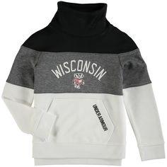 Wisconsin Badgers Under Armour Girls Youth Funnel Neck Fleece Performance Sweatshirt - Black/Gray - $57.99