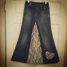 Custom Made to fit from Upcycled Jean-Fun with Lace Long Full Modest jean skirt