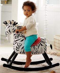 Shop Rocking Horse for Toddlers.  What's black and white and rocks? Our zebra rocker, of course.  (Okay, not our best joke…) The plush body, wooden base, and unique zebra design make it better than your average rocking horse.