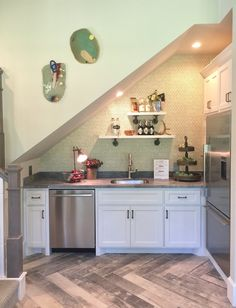 Guest House Kitchen under the stairs - Southern Living Showcase Home #guesthouse