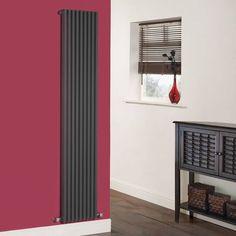 Cayos - Luxury Anthracite Vertical Designer Radiator Sideways Panels 1780mm x 342mm £199.99