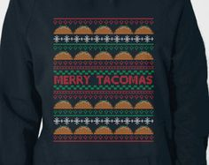 Taco Ugly Holiday Sweater Hoodie | Funny Sweatshirt | Typography Sweater Jumper Shirt for ADULTS  | Great Christmas gift | Food Shirt