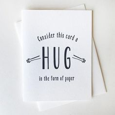 Letterpress Sympathy and Encouragement Card - Paper Hug, Birthday Cards For Boyfriend, Birthday Cards For Friends, Funny Birthday Cards, Bday Cards, Diy Cards For Friends, Friend Cards, Diy Birthday, Birthday Gifts, Creative Birthday Cards