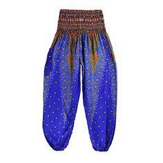 Chleisure 10 Colors Summer Beach Bohemian Pants Women High Waist Harem Pants Plus Size Loose Print Bloomers Trousers Women Blue Harem Pants Men, Wide Leg Yoga Pants, Trousers Women, Pants For Women, Bohemian Pants, Hippie Pants, Hippie Boho, Boho Hose, Thai Pants