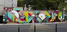 Vibrantly colorfuled, geometric graffiti pieces by Nelio
