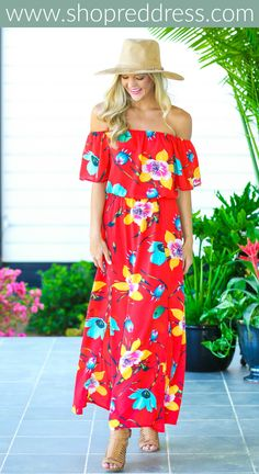 You'll be Painted Pretty when you're wearing this pleasing Off-The-Shoulder Red Maxi Dress. WIth multicolor flowers adorning this maxi with an elastic off the shoulder neckline, bell sleeves, side slits, and a cinched waist, you'll look like a piece from a gallery. Shop this look and more at www.shopreddress.com