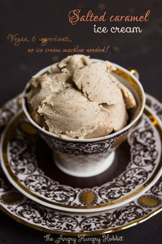 Salted caramel ice cream - an easy 6-ingredient vegan ice cream that can be made wihout an ice cream machine!