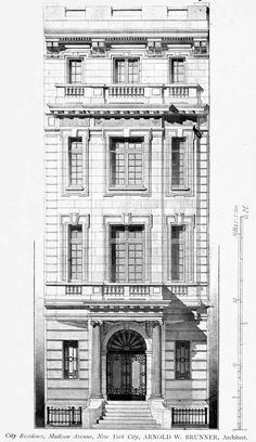 Elevation for a residence on Madison Avenue, New York City