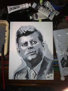 John F Kennedy portrait on canvas by OneCentPostage on Etsy, $100.00