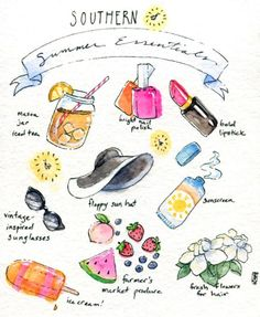 Today's lunch break doodle: Southern summer essentials.Watercolor, ink, and gouache.
