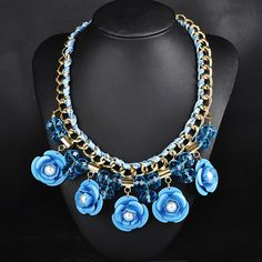 Blue color #necklace, with #crystal and #glass, multi-colored and single color.