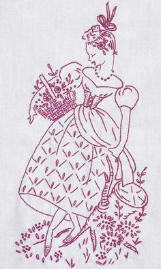Redwork Embroidery: Lady with Basket and Flowers #embroidery #needlework