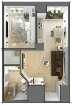 ideas apartment interior design small floor plans for 2019 Studio Apartment Floor Plans, Studio Apartment Decorating, Apartment Interior, Apartment Design, Small Apartment Plans, Small Apartment Layout, Apartment Ideas, Home Design Floor Plans, House Floor Plans