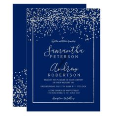 Shop Rose gold confetti blue typography wedding invitation created by girly_trend. Purple Invitations, Typography Wedding Invitations, Silver Wedding Invitations, Gold Confetti, Chic Wedding, Wedding Blue, Wedding Ideas, Spring Wedding, Wedding Frames