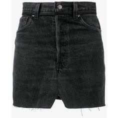 Vetements denim patchwork mini skirt ($1,150) ❤ liked on Polyvore featuring skirts, mini skirts, long skirts, short miniskirt, high waist skirt, high-waist skirt and high waisted denim skirt