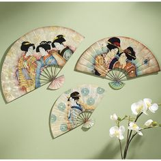 Set of Three Japanese Fans Wall Art