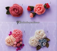 Brooches with crocheted roses.  Scheme