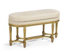 Louis XVI-Style Giltwood Bench : Lot 498